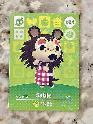SABLE #004 Animal Crossing Amiibo Card Mint From Either Series 1, 2, 3, 4.