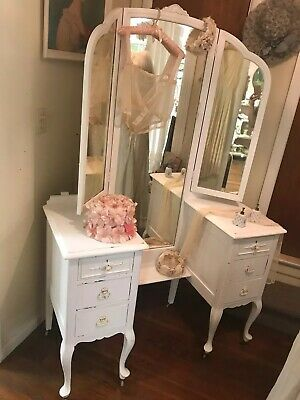Shabby Chic Style Antique Vanity distressed with Tri-Fold Mirror