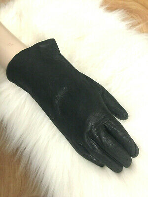 Womens Vintage Black Kid Leather Winter Gloves Warm Acrylic Lining-Sz 7