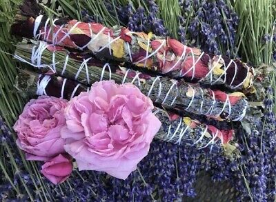 3 Lavender, Rose Petal and Sage Smudge Sticks Wands Native American Made
