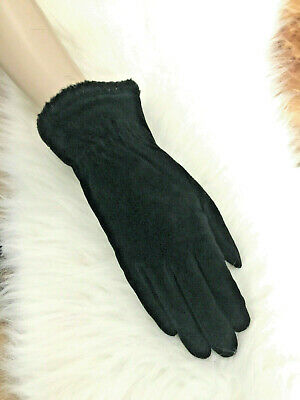 Womens Vintage Fownes Black Suede Leather Winter Gloves Warm Fleece Lining-Sz L