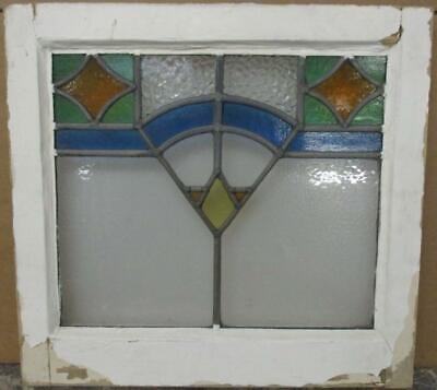 "OLD ENGLISH LEADED STAINED GLASS WINDOW Gorgeous Geometric 18.75"" x 17.75"""