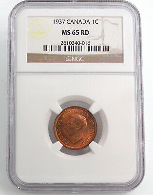 Canada 1937 One Cent, Ngc Ms65Rd