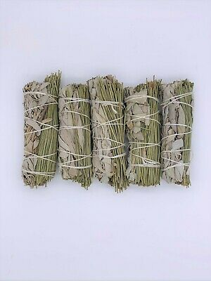 "5X California White/Pine Sage Smudge Sticks 4-5 inches long ""Negativity Removal"""