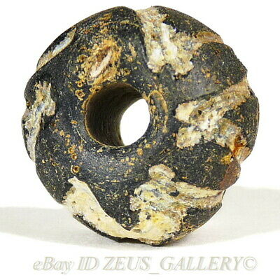 Ancient Black Glass Bead White Zig-Zags Ex Bonhams London UK 2004