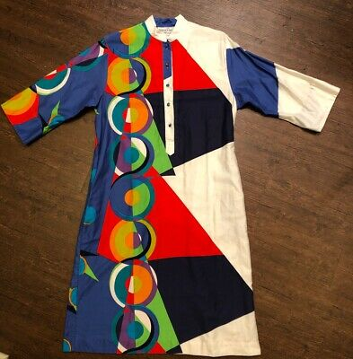 VTG 70s Penthouse Gallery Katherine Ogust Button Dress Womens 14
