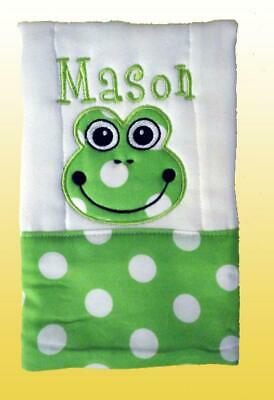 New Handmade Personalized Cloth Diaper Green Frog Baby Boy Burp Cloth
