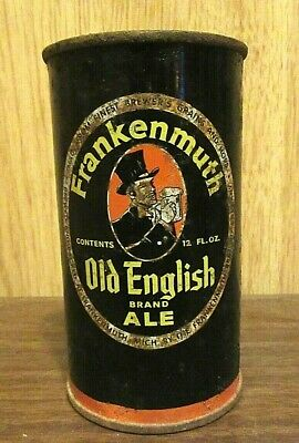 Frankenmuth Old English Brand Ale Flat Top Beer Can 12 FL OZ Straight Steel B/O
