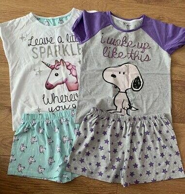 M&S Girls Short Pyjamas x 2 Sets Snoopy & Unicorn Age 11-12 Years