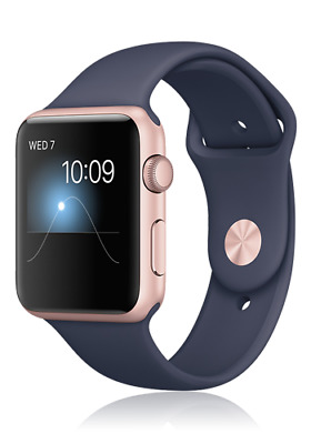 Apple Watch Series 2 42mm Alu-Gehäuse in Roségold mit Sportarmband in blau