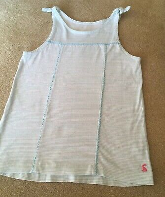 Girls Joules Striped Vest Swing Top. Age 8-9 Years. White & Light blue Stripes