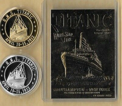 Rms Titanic April 10-15, 1912 23 Kt Card Gold & Silver  Coins 100Th Anniversary