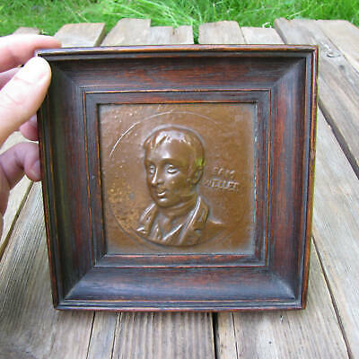 Sam Weller Copper Bust Wall Plaque in Frame The Pickwick Papers Charles Dickens