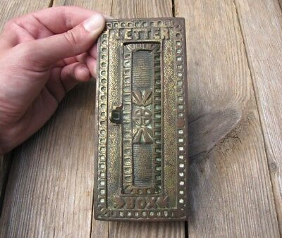 Antique Ornate Vertical Brass Letter Box Plate / Door Mail Slot / Mailbox