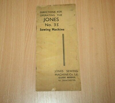 Vintage Directions for Operating the JONES No.35 Sewing Machine Instructions