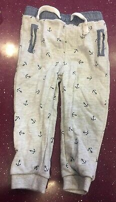 F&F Grey with Blue Anchors Jogging Bottoms - 12-18 Months