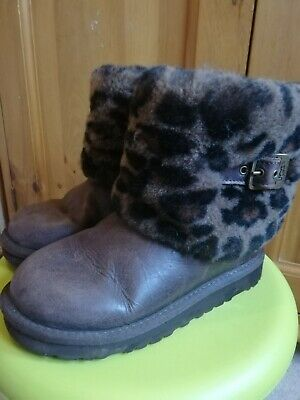 Ugg boots girls size uk 13/EU 31, leather uppers, leopard print fake fur top.