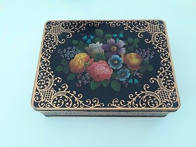 Vintage Black Floral Tin Made in England with Sewing Notions