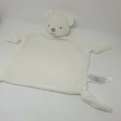 12 - Doudou Plat Primark Early Days Ours Blanc Etoile Gris 4 Noeuds Neuf