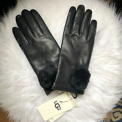 UGG $110 Genuine Dyed Shearling Pompom Shorty Leather Gloves Size M/M