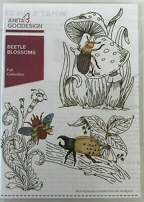 Anita Goodesign Beetle Blossoms Embroidery Machine Design CD Pre-Owned