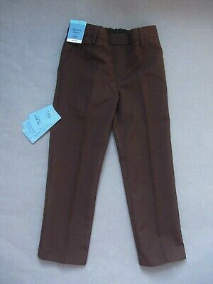 New boys Marks and Spencer brown slim leg school trousers age 4-5yrs
