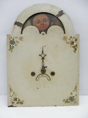 Antique English Hand painted  Moon phase Long case Grandfather Clock Front