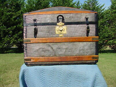 Antique Trunk  Embossed Tin Great Restoration Pat'd 1860  As Much As 160 Yrs Old