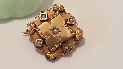 Broche Ancienne Plaqué Or Avec 5 Perles Fine. 1920. Antique French Brooch