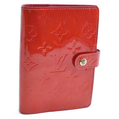 LOUIS VUITTON Vernis Agenda PM Day Planner Cover Red LV Auth oh135