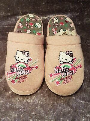 Girls Pink M&S Hello Kitty Slide On Slip On Slippers Size 3 VGC