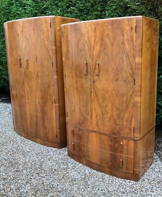 Outstanding Pair Of Walnut Art Deco Wardrobes Very Clean Amazing Veneers