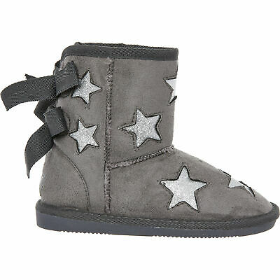 New PINEAPPLE Girls Silver Star Sheepskin Fur Lined Grey Tie Back Ankle Boots 12