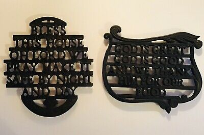 Two Cast Iron Trivets-God Is Great (Wilton) & Bless This Home