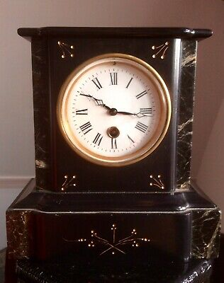 Antique Victorian 19th Century French Mantel Clock,Marble Slate,Porcelain Dial