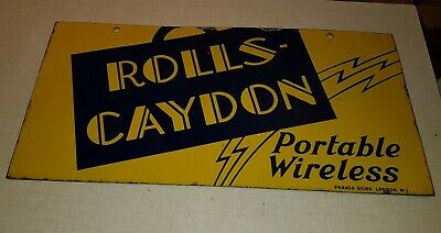 Vintage Rolls Caydon Radio wireless Enamel advertising sign double sided 1930s