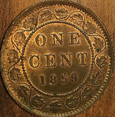 1859 CANADA LARGE CENT PENNY LARGE 1 CENT COIN - High 9 Fantastic Uncirculated !