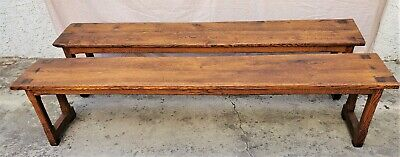 Matching Pair of French Solid Oak Long Monastery Benches 1800s (Set of 2)