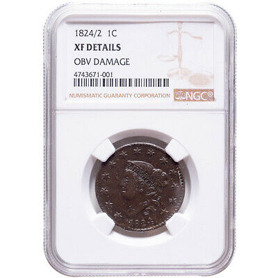 1824/2 Large Cent Liberty Head NGC XF