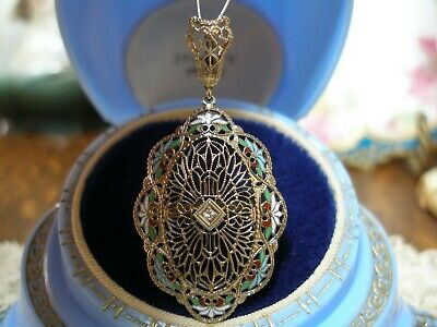 Antique 14K White Gold Filigree Diamond Enamel Pendant Large Art Deco 1920'S Wow