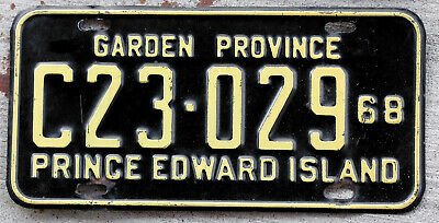 1968 Yellow on Black Prince Edward Island Canada License Plate