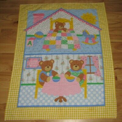 The Three Little Bears Teddy Home Sweet Home Baby Quilt Comforter Blanket