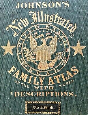 Outstanding 1863 Edition Johnson's Family Atlas United States and World