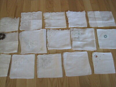 Vtg Wedding Hankies With Lace And Embroidery Lot 15 Pc