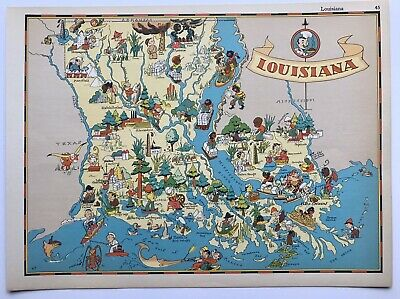 Ruth Taylor Comic Cartoon Map of LOUISIANA 1935 6 Color Litho Tigers NEW ORLEANS