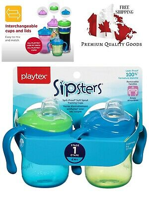 Playtex Sipsters Stage 1 Spill-Proof, Leak-Proof, Break-Proof Spout Sippy Cups