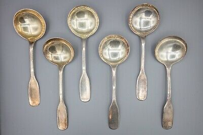 "Hans Hansen Susanne Sterling Silver Round Bowl Cream Soup Spoon 6.25"" – Set of 6"