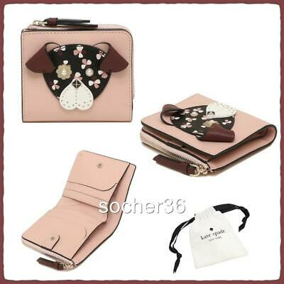 Kate Spade Floral Pup Small L-Zip Bifold Wallet Cherrywood W/Gift Pouch Nwt $129