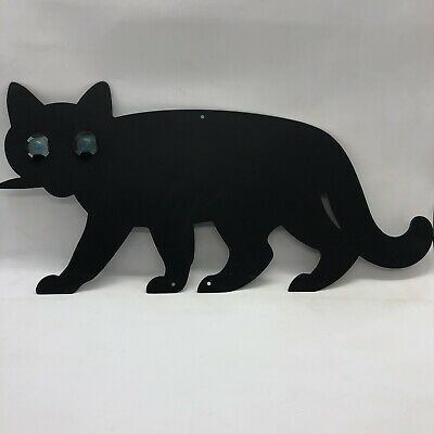 """Vintage Black Cat Metal Tin With Marble Eyes Great for Halloween 14"""" W x 7"""" H"""