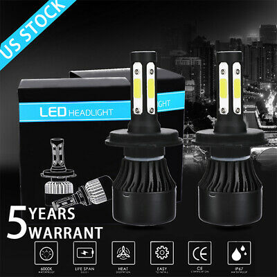 2Pcs 4 Sides CREE H4 H8 9003 LED Headlight Beam Bulbs Conversion Kit 6000K White